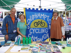 Southampton Cycling Campaign members and banner